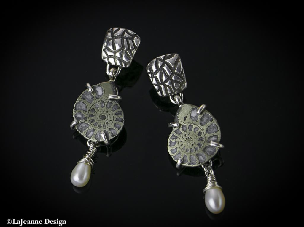 Ammonite Fossil with pearl sterling silver earrings