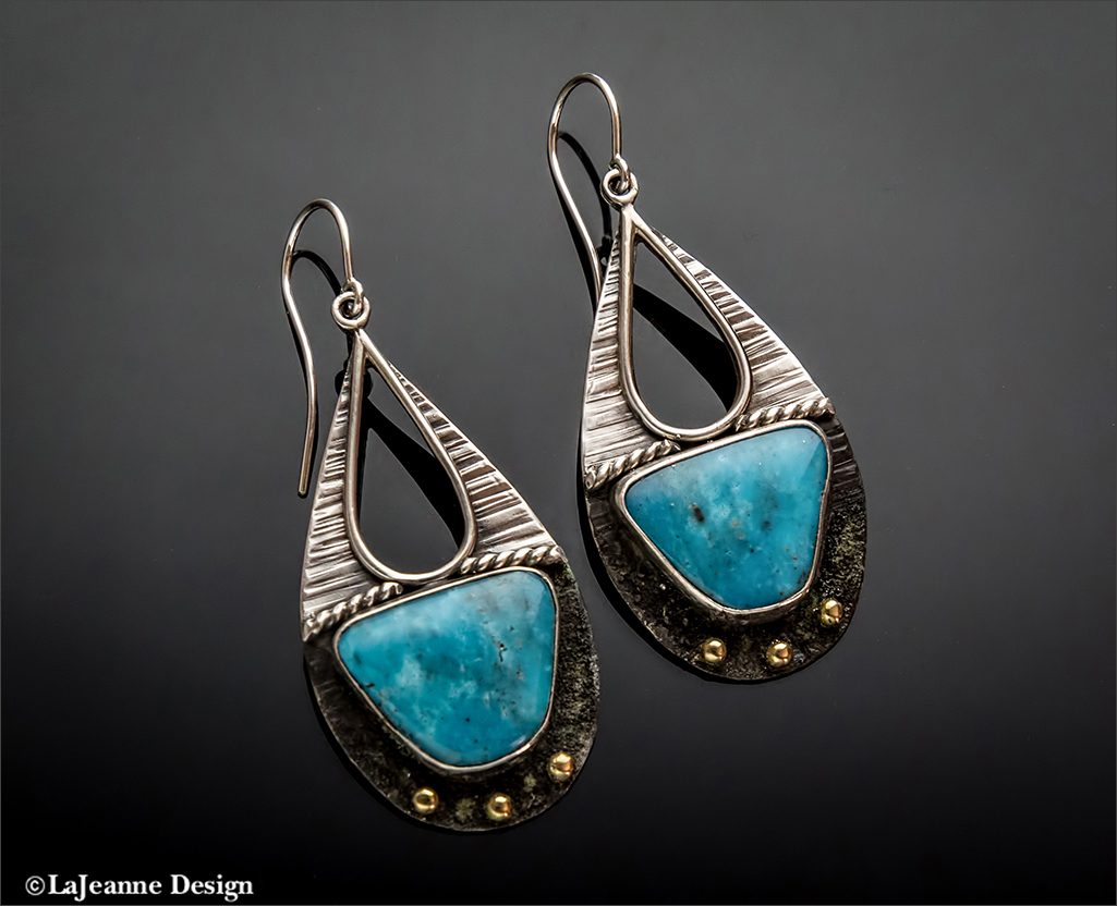 Morenci Mine Turquoise sterling silver earrings