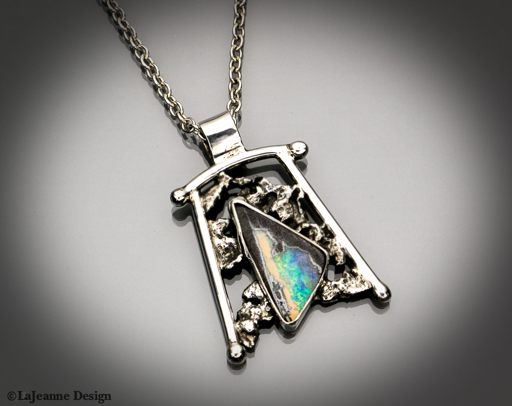 Australian Boulder Opal  and  sterling silver necklace