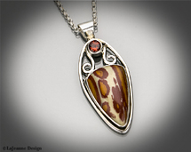 Owyhee Picture Jasper & Fire Citrine necklace