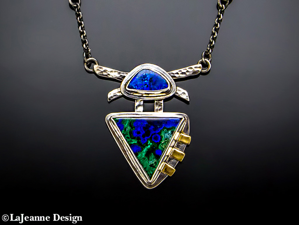 Boulder Opal, Azurite-Malachite sterling silver necklace