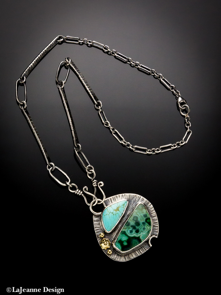 Chrysocolla sterling silver necklace