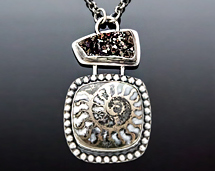 """Vestige"" - Pyritized Ammonite and Druzy Sterling Silver Necklace"