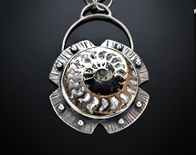"""Meridian"" - Pyritized Ammonite Sterling Silver Necklace"