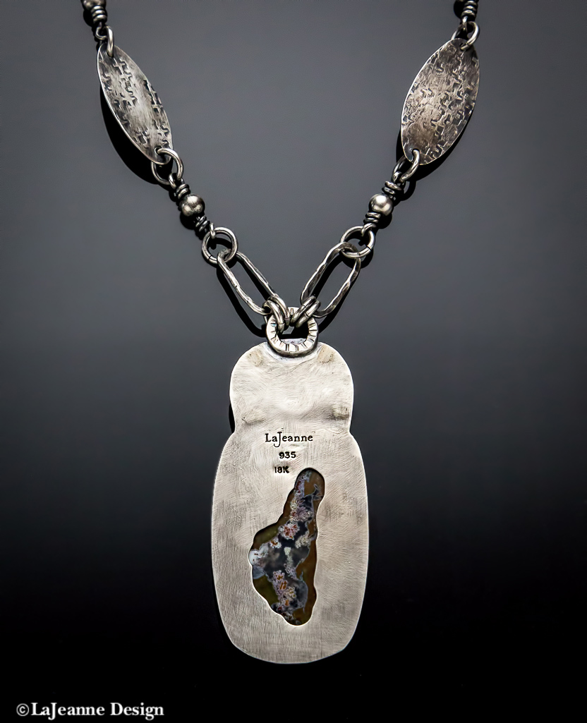 Priday Ranch Plume Agate with Pyritized Ammonite Sterling Silver Necklace
