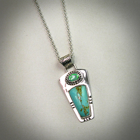 Royston Turquoise and Opal  sterling silver necklace
