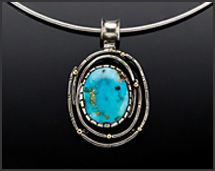 Thunder Mountain Turquoise & 18K Gold Sterling Silver Necklace