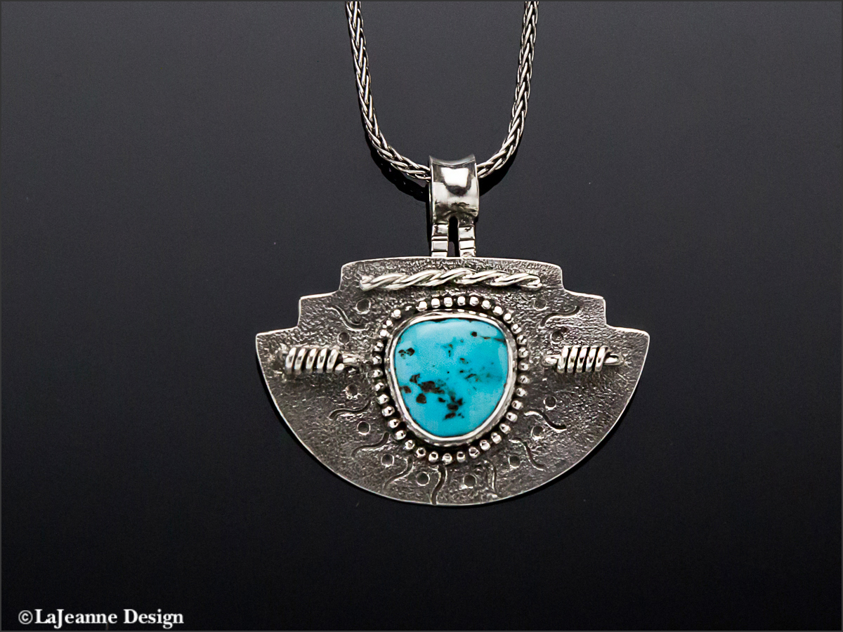 """Fiesta Del Sol"" - Morenci Turquoise Sterling Silver Necklace"