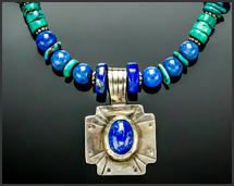 lapis lazuli and turquoise sterling silver western necklace