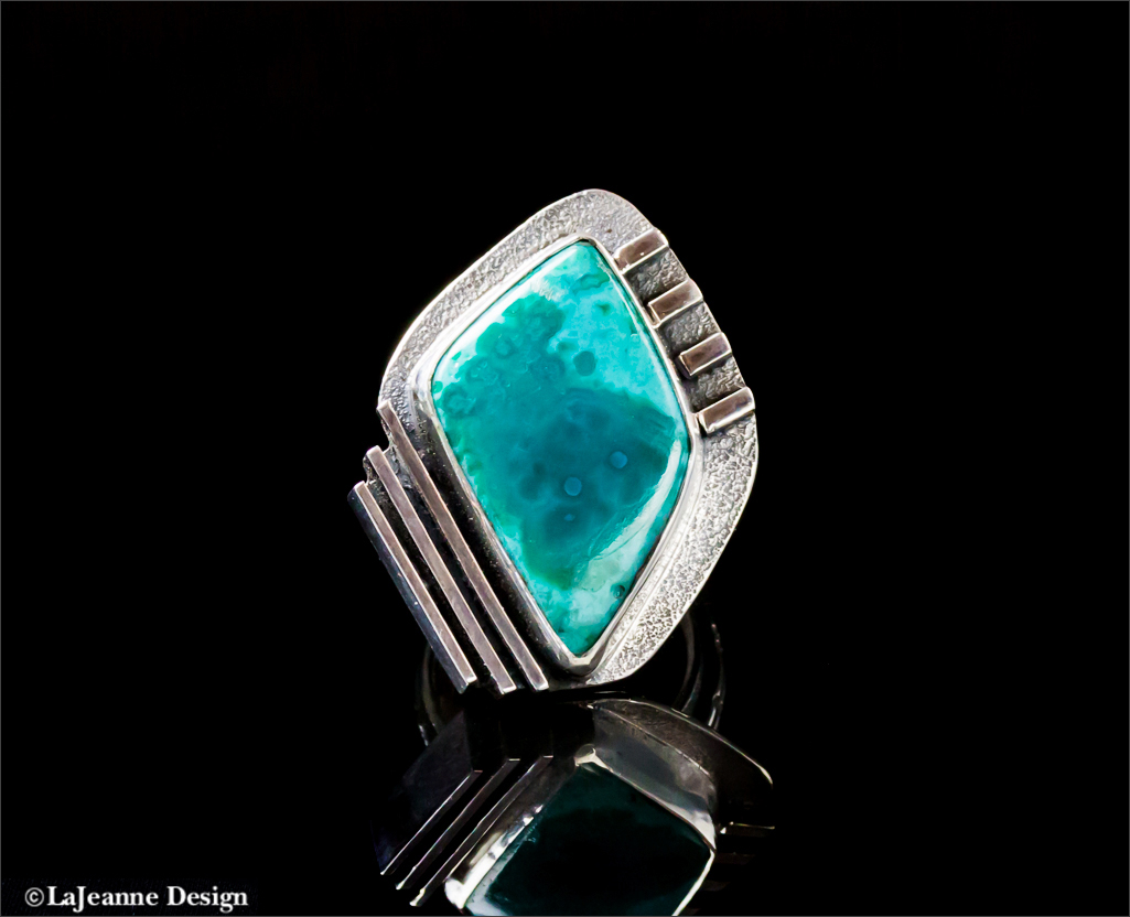 Chrysocolla sterling silver woman's ring